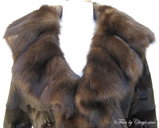 Russian Broadtail Lamb and Sable Jacket Collar Close Up image