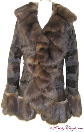 Russian Broadtail Lamb and Sable Jacket Front image