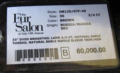 Russian Broadtail Lamb and Sable Jacket Saks Fifth Avenue tag image