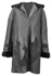 Hooded Black Leather and Sheared Mink Stroller Coat image