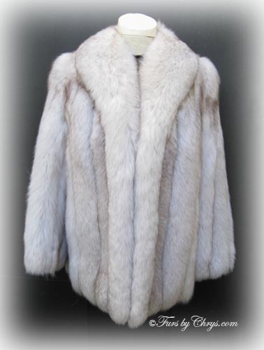 Blue Fox Fur Jacket BF647 - Furs by Chrys