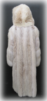 Hooded Blush Fox Fur Coat Back image
