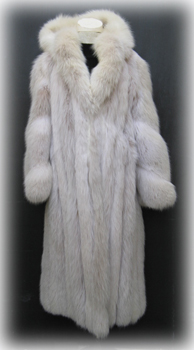 Hooded Blush Fox Fur Coat Front image