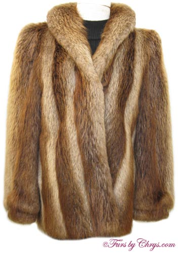 Golden Beaver Fur Jacket B656 - Furs by Chrys