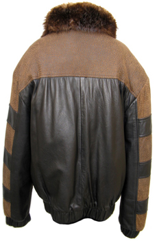Men's Reversible Leather and Beaver Jacket Back image
