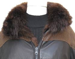 Men's Reversible Leather and Beaver Jacket Collar Close Up image
