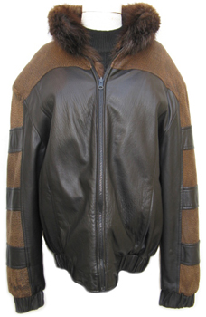 Men's Reversible Leather and Beaver Jacket Front image