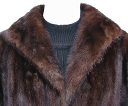 Mahogany Mink Stroller Coat Collar Close Up image