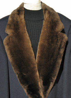 Men's Navy Cashmere Coat with Sheared Beaver Collar Collar Close Up image