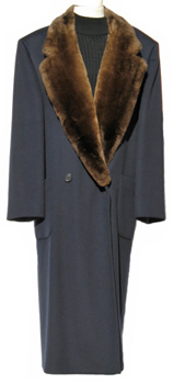 Men's Navy Cashmere Coat with Sheared Beaver Collar Front image