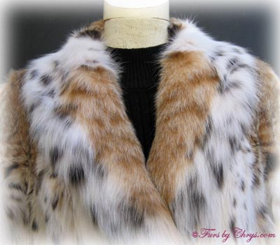 Montana Lynx Fur Coat Collar Close Up image