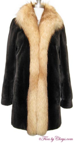 Sheared Brown Mink and Crystal Fox Stroller Coat Front image