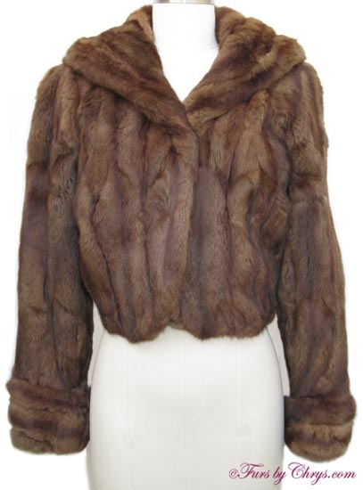 vintage brown squirrel fur short jacket s721