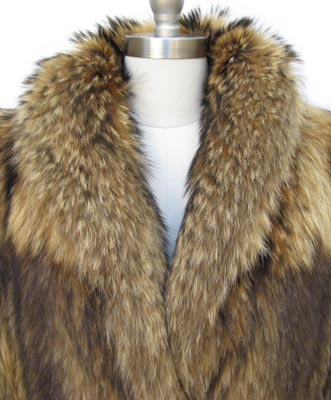 Tanuki Raccoon Fur Stroller Jacket Collar Close Up image